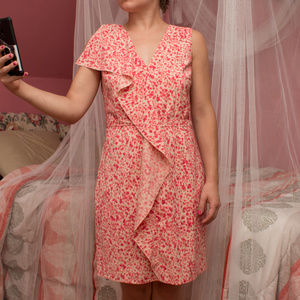 Ann Taylor Loft Breezy Pink Patterned Dress 6P